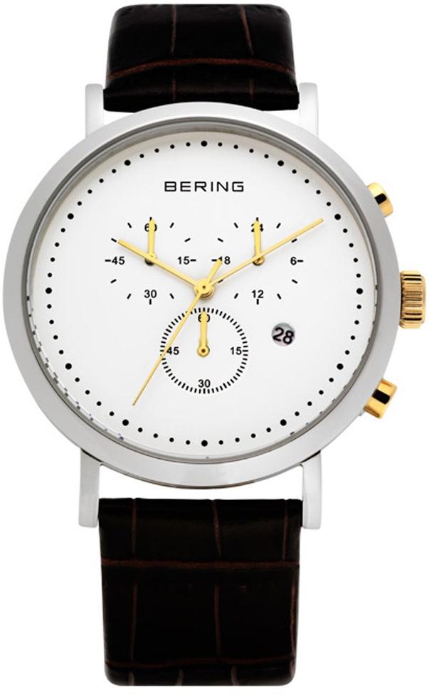 Bering Classic 10540-534Наручные часы<br>Швейцарские часы Bering Classic 10540-534<br><br>Пол: Мужские<br>Страна-производитель: Швейцария<br>Механизм: Кварцевый<br>Материал корпуса: Сталь<br>Материал ремня/браслета: Кожа<br>Водозащита, диапазон: 20 - 100 м<br>Стекло: Сапфировое<br>Толщина корпуса: None<br>Стиль: Классика