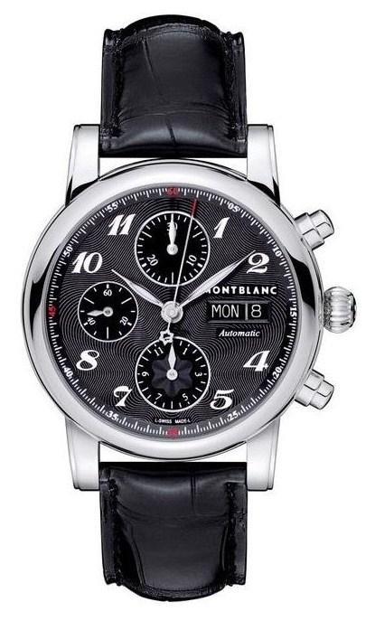 Montblanc Star 106467Наручные часы<br>Швейцарские часы Montblanc Star&amp;nbsp;Chronograph Automatic&amp;nbsp; 106467Модель Montblanc Star Chronograph Automatic - виртуозный пример решения сложных технических задач. Часы наглядно доказывают, что самое незначительное уменьшение формата зачастую влечет за собой серьезные дизайнерские и функциональные усовершенствования. В корпусе диаметром 39 мм установлен крупный циферблат с гармонично размещенными разнообразными дополнительными функциями. 30-минутный и 12-часовой счетчики увеличенного размера придают особую выразительность вертикальной оси, плавно переходящей в браслет. Циферблат малой секундной стрелки в положении 9 часов с утонченными десятисекундными метками является образцом сдержанности. Стрелка хронографа с красным кончиком и оформившей противоположный конец перфорированной эмблемой Montblanc перемещается над всей поверхностью циферблата. Выпуклое сапфировое стекло с двойным антибликовым покрытием. Механизм - Montblanc MB 25.01 - механический с автоподзаводом, 28800 полуколебаний/час, 25 камней, около 46 часов запас хода. Диаметр корпуса - 39 мм.&amp;nbsp;Ремешок из кожи аллигатора. Водозащита - 30 метров.<br><br>Пол: Мужские<br>Страна-производитель: Швейцария<br>Механизм: Механический<br>Материал корпуса: Сталь<br>Материал ремня/браслета: Кожа<br>Водозащита, диапазон: 20 - 100 м<br>Стекло: Сапфировое<br>Толщина корпуса: 13.95 мм<br>Стиль: Классика