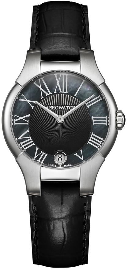 Aerowatch New Lady 06964 AA04Наручные часы<br>Швейцарские часы Aerowatch New Lady 06964 AA04<br><br>Пол: Женские<br>Страна-производитель: Швейцария<br>Механизм: Кварцевый<br>Материал корпуса: Сталь<br>Материал ремня/браслета: Кожа<br>Водозащита, диапазон: 20 - 100 м<br>Стекло: Сапфировое<br>Толщина корпуса: 7 мм<br>Стиль: Классика