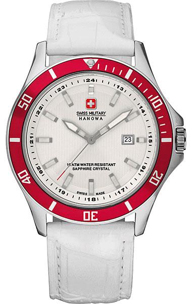 Hanowa Swiss Military Flagship 06-4161.7.04.001.04Наручные часы<br>Швейцарские часы Hanowa Swiss Military Flagship 06-4161.7.04.001.04Данная модель — яркий представитель коллекции Flagship. Это стильные Мужские часы. Материал корпуса часов — Сталь. Ремень — Кожа. Стекло - Сапфировое. Часы этой модели обладают водозащитой 100 м.<br><br>Пол: Мужские<br>Страна-производитель: Швейцария<br>Механизм: Кварцевый<br>Материал корпуса: Сталь<br>Материал ремня/браслета: Кожа<br>Водозащита, диапазон: 100 - 150 м<br>Стекло: Сапфировое<br>Толщина корпуса: None<br>Стиль: None