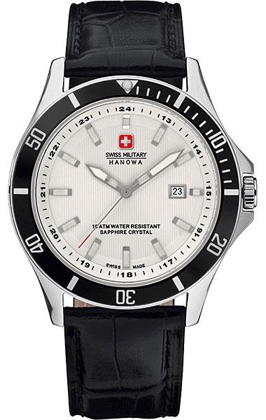 Hanowa Swiss Military Flagship 06-4161.7.04.001.07Наручные часы<br>Швейцарские часы Hanowa Swiss Military Flagship 06-4161.7.04.001.07Данная модель &amp;mdash; яркий представитель коллекции Flagship. Это стильные Мужские часы. Материал корпуса часов &amp;mdash; Сталь. Ремень &amp;mdash; Кожа. В этих часах используется Сапфировое стекло. Водозащита этой модели 100 м.<br><br>Пол: Мужские<br>Страна-производитель: Швейцария<br>Механизм: Кварцевый<br>Материал корпуса: Сталь<br>Материал ремня/браслета: Кожа<br>Водозащита, диапазон: 100 - 150 м<br>Стекло: Сапфировое<br>Толщина корпуса: None<br>Стиль: None