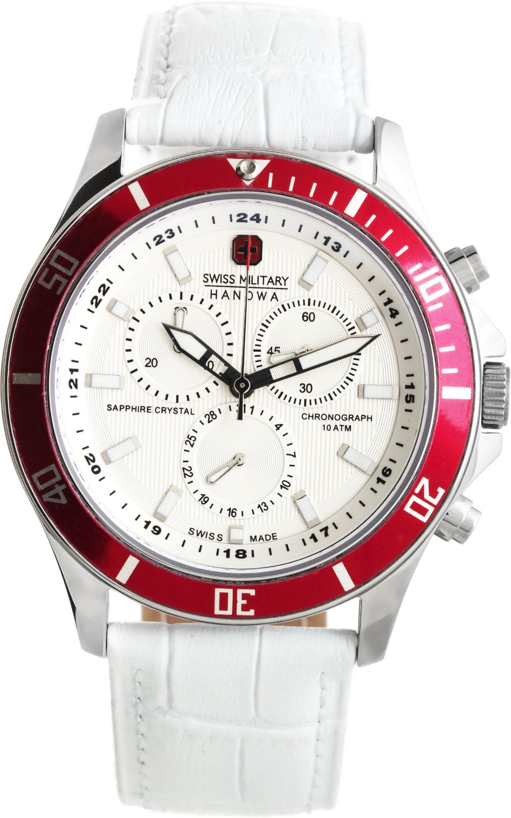 Hanowa Swiss Military Flagship 06-4183.04.001.04Наручные часы<br>Швейцарские часы Hanowa Swiss Military Flagship 06-4183.04.001.04Данная модель входит в коллекцию Flagship. Это стильные Мужские часы. Материал корпуса часов — Сталь. Ремень — Кожа. В этих часах используется Сапфировое стекло. Водозащита - 100 м.<br><br>Пол: Мужские<br>Страна-производитель: Швейцария<br>Механизм: Кварцевый<br>Материал корпуса: Сталь<br>Материал ремня/браслета: Кожа<br>Водозащита, диапазон: 100 - 150 м<br>Стекло: Сапфировое<br>Толщина корпуса: None<br>Стиль: None