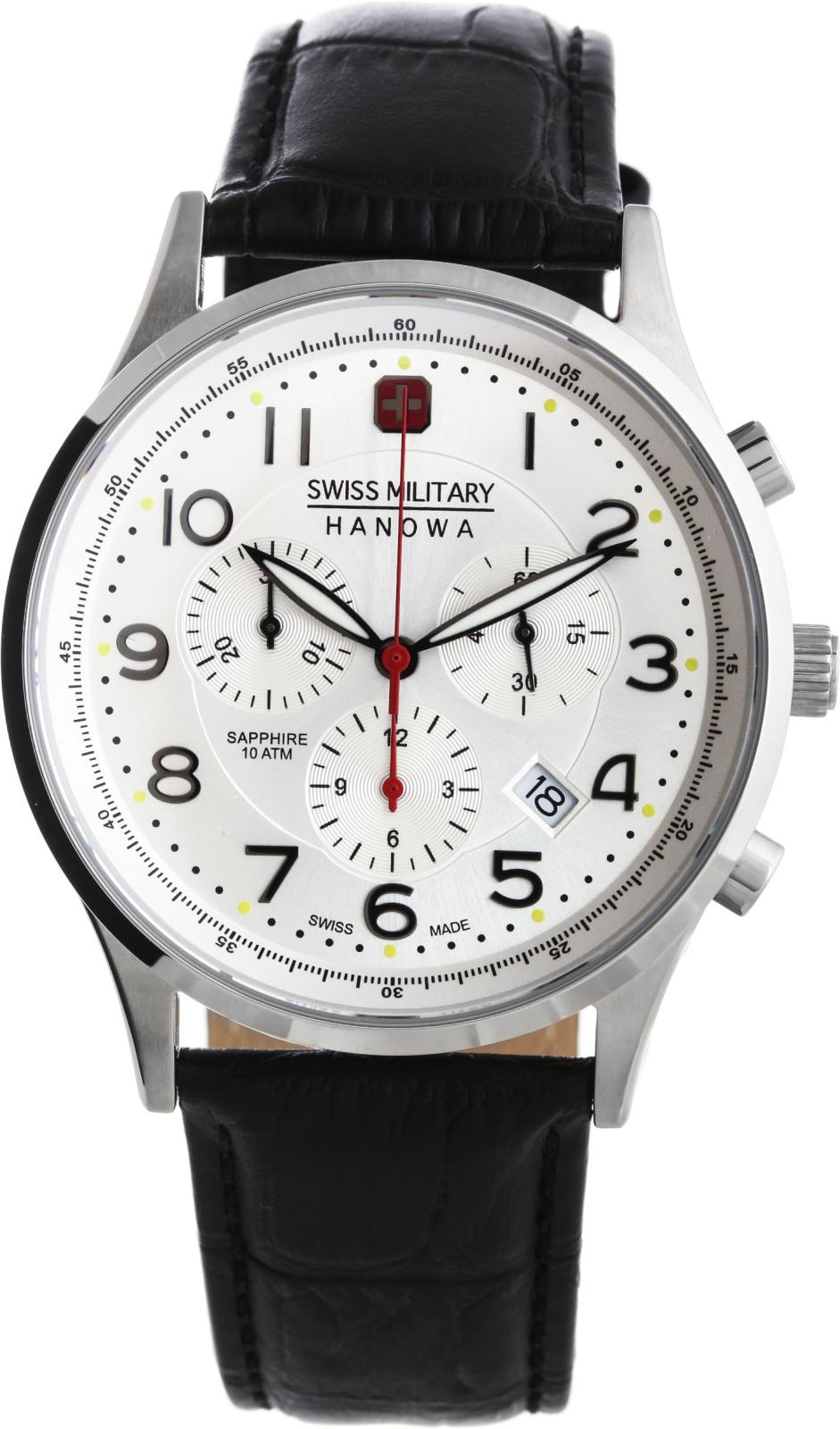 Hanowa Swiss Military Patriot 06-4187.04.001Наручные часы<br>Швейцарские часы Hanowa Swiss Military Patriot 06-4187.04.001Часы принадежат коллекции Patriot. Это настоящие Мужские часы. Материал корпуса часов — Сталь. Ремень — Кожа. В этой модели стоит Сапфировое стекло. Часы выдерживают давление на глубине 100 м.<br><br>Пол: Мужские<br>Страна-производитель: Швейцария<br>Механизм: Кварцевый<br>Материал корпуса: Сталь<br>Материал ремня/браслета: Кожа<br>Водозащита, диапазон: 100 - 150 м<br>Стекло: Сапфировое<br>Толщина корпуса: None<br>Стиль: None