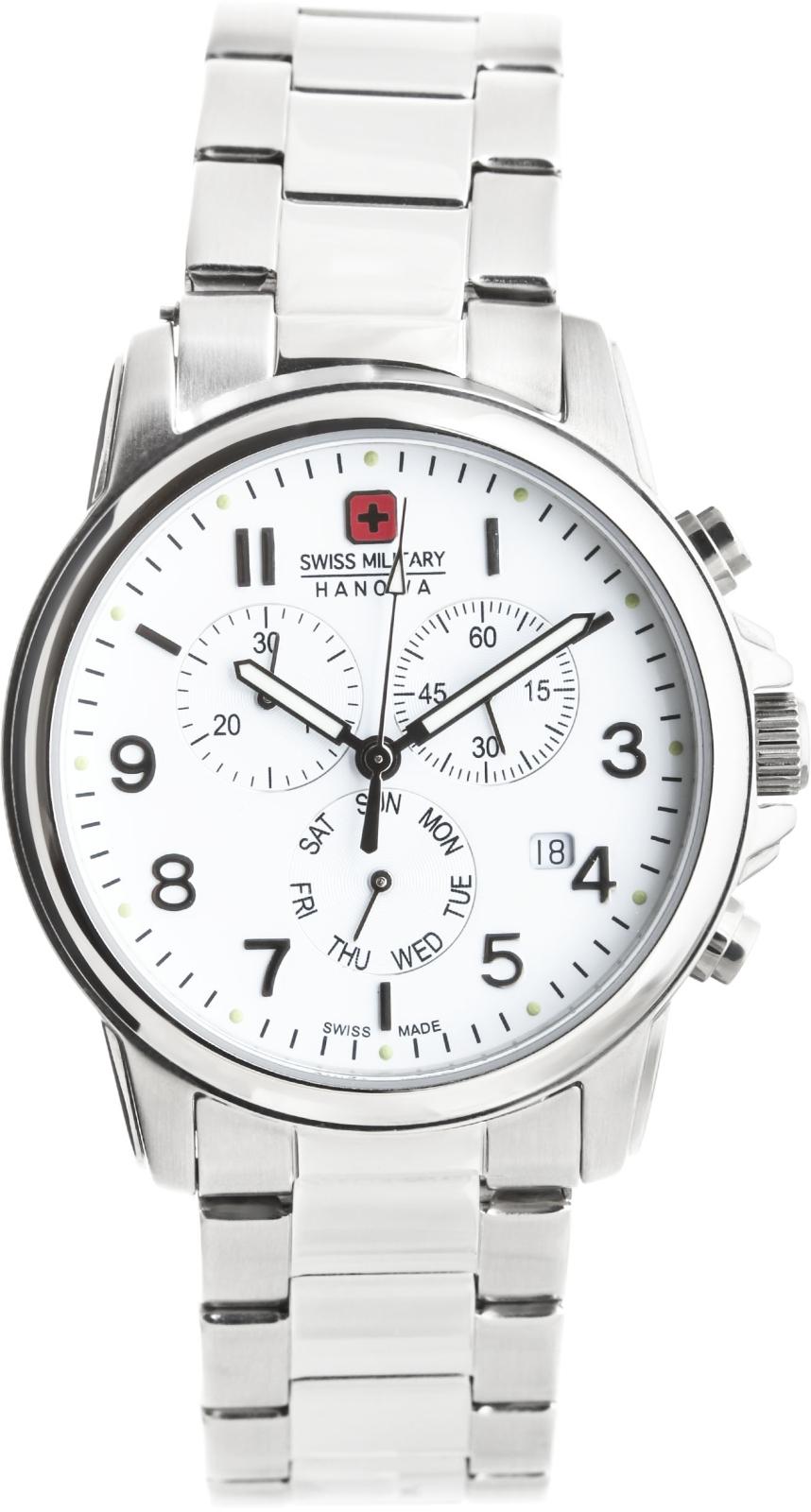 Hanowa Swiss Military Swiss Soldier 06-5142.04.001Наручные часы<br>Швейцарские часы Hanowa Swiss Military Swiss Soldier 06-5142.04.001Модель входит в коллекцию Swiss Soldier. Это стильные Мужские часы. Материал корпуса часов — Сталь. Браслет — Сталь. В этой модели стоит Минеральное стекло. Водозащита - 100 м. Цвет циферблата - Белый. Диаметр корпуса 39мм.<br><br>Пол: Мужские<br>Страна-производитель: Швейцария<br>Механизм: Кварцевый<br>Материал корпуса: Сталь<br>Материал ремня/браслета: Сталь<br>Водозащита, диапазон: 100 - 150 м<br>Стекло: Минеральное<br>Толщина корпуса: None<br>Стиль: Спорт