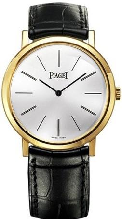 Piaget Altiplano  G0A29120Наручные часы<br>Швейцарские часы Piaget Altiplano G0A29120Часы принадежат коллекции Altiplano . Это стильные мужские часы. Материал корпуса часов &amp;mdash; золото. Стекло - сапфировое. Водозащита - 30 м. Цвет циферблата - белый. Из основных функций на циферблате представлены: часы, минуты. Диаметр корпуса часов составляет 38мм.<br><br>Пол: Мужские<br>Страна-производитель: Швейцария<br>Механизм: Механический<br>Материал корпуса: Золото<br>Материал ремня/браслета: Кожа<br>Водозащита, диапазон: 20 - 100 м<br>Стекло: Сапфировое<br>Толщина корпуса: None<br>Стиль: Классика