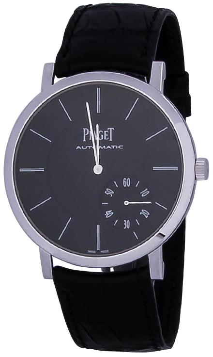 Piaget Altiplano G0A37126Наручные часы<br>Швейцарские часы Piaget Altiplano G0A37126Данная модель &amp;mdash; яркий представитель коллекции Altiplano. Это мужские часы. Материал корпуса часов &amp;mdash; золото. В этой модели стоит сапфировое стекло. Водозащита этих часов 30 м.<br><br>Пол: Мужские<br>Страна-производитель: Швейцария<br>Механизм: Механический<br>Материал корпуса: Золото<br>Материал ремня/браслета: Кожа<br>Водозащита, диапазон: 20 - 100 м<br>Стекло: Сапфировое<br>Толщина корпуса: None<br>Стиль: None