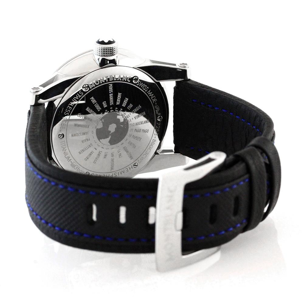Montblanc Timewalker 108955Наручные часы<br>Швейцарские часы MontblancTimewalkerWorld-Time Hemispheres Automatic 108955Эффектная функциональная эксклюзивность для мужчин, которым присущ неординарный взгляд на жизнь и стремление к самосовершенствованию.Часы входят в коллекциюTimewalkerWorld-Time Hemispheres Automatic- второй часовой поясв 24-х часовом формате времени отображается центральной стрелкой с цветовой индикацией день/ночь.Функция Мировое время, позволяющая отображать время в нескольких часовых поясов.В механизме 21 камень, частота 28800 полуколебаний/час. Запас хода 42 часа.<br><br>Пол: Мужские<br>Страна-производитель: Швейцария<br>Механизм: Механический<br>Материал корпуса: Сталь<br>Материал ремня/браслета: Текстиль<br>Водозащита, диапазон: 20 - 100 м<br>Стекло: Сапфировое<br>Толщина корпуса: 12,05 мм<br>Стиль: Классика