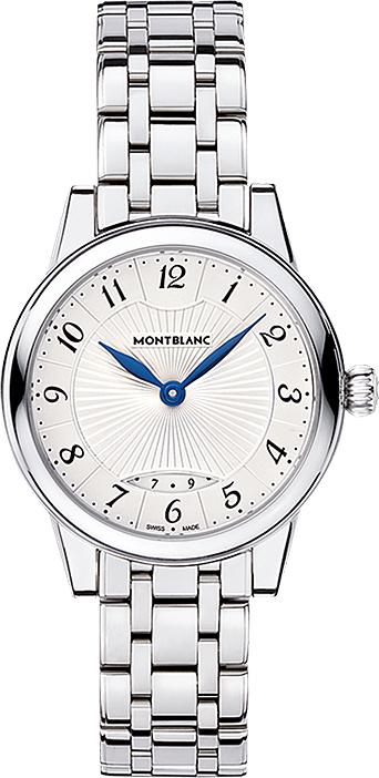 Montblanc Boheme 111207Наручные часы<br>Швейцарские часы Montblanc Boheme Date 111207<br><br>Пол: Женские<br>Страна-производитель: Швейцария<br>Механизм: Кварцевый<br>Материал корпуса: Сталь<br>Материал ремня/браслета: Сталь<br>Водозащита, диапазон: 20 - 100 м<br>Стекло: Сапфировое<br>Толщина корпуса: 6,86 мм<br>Стиль: Классика