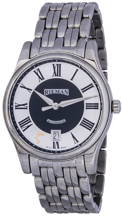 Rieman Sfero Automatic R1140.591.012Наручные часы<br>Швейцарские часы Rieman Sfero Automatic R1140.591.012Часы принадежат коллекции Sfero Automatic. Это великолепные мужские часы. Материал корпуса часов &amp;mdash; сталь. Циферблат часов защищает сапфировое стекло. Водозащита - 30 м. Основной цвет циферблата серый с черным. Из основных функций на циферблате представлены: часы, минуты, секунды. В этих часах используются такие усложнения как дата, . Корпус часов в диаметре 40мм.<br><br>Пол: Мужские<br>Страна-производитель: Швейцария<br>Механизм: Механический<br>Материал корпуса: Сталь<br>Материал ремня/браслета: Сталь<br>Водозащита, диапазон: 20 - 100 м<br>Стекло: Сапфировое<br>Толщина корпуса: None<br>Стиль: Классика