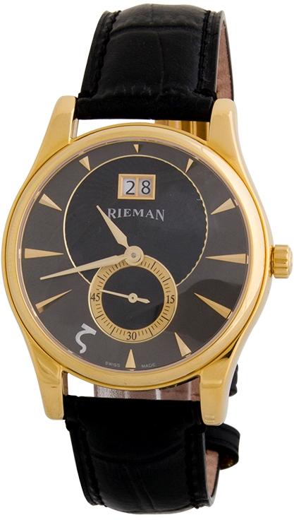 Rieman Sfero Gents R1221.134.215Наручные часы<br>Швейцарские часы Rieman Sfero Gents R1221.134.215Данная модель &amp;mdash; яркий представитель коллекции Sfero Gents. Это мужские часы. Материал корпуса часов &amp;mdash; сталь+золото. Циферблат часов защищает сапфировое стекло. Водозащита этой модели 30 м. Цвет циферблата - черный. Циферблат модели содержит часы, минуты, секунды. В этих часах используются такие усложнения как дата, . Размер данной модели 40мм.<br><br>Пол: Мужские<br>Страна-производитель: Швейцария<br>Механизм: Кварцевый<br>Материал корпуса: Сталь+Золото<br>Материал ремня/браслета: Кожа<br>Водозащита, диапазон: 20 - 100 м<br>Стекло: Сапфировое<br>Толщина корпуса: None<br>Стиль: Классика