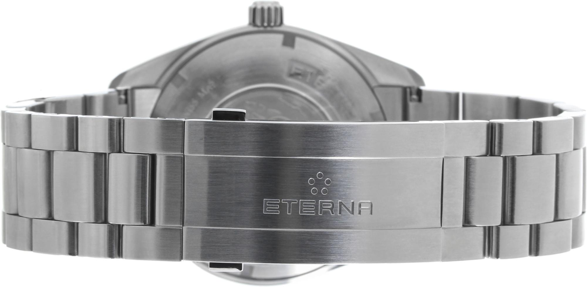 Eterna Kontiki Date 1222.41.41.0217Наручные часы<br>Швейцарские часы Eterna Kontiki Date 1222.41.41.0217<br><br>Пол: Мужские<br>Страна-производитель: Швейцария<br>Механизм: Механический<br>Материал корпуса: Сталь<br>Материал ремня/браслета: Сталь<br>Водозащита, диапазон: 200 - 800 м<br>Стекло: Сапфировое<br>Толщина корпуса: 12 мм<br>Стиль: Классика