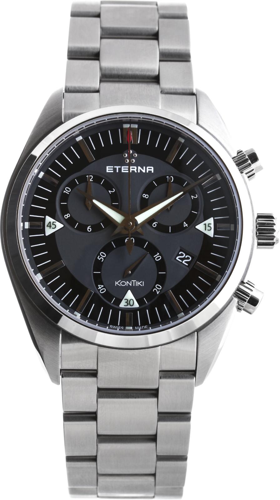 Eterna Adventure 1250.41.41.0217Наручные часы<br>Швейцарские часы Eterna Adventure 1250.41.41.0217<br><br>Пол: Мужские<br>Страна-производитель: Швейцария<br>Механизм: Кварцевый<br>Материал корпуса: Сталь<br>Материал ремня/браслета: Сталь<br>Водозащита, диапазон: 200 - 800 м<br>Стекло: Сапфировое<br>Толщина корпуса: 13 мм<br>Стиль: Классика