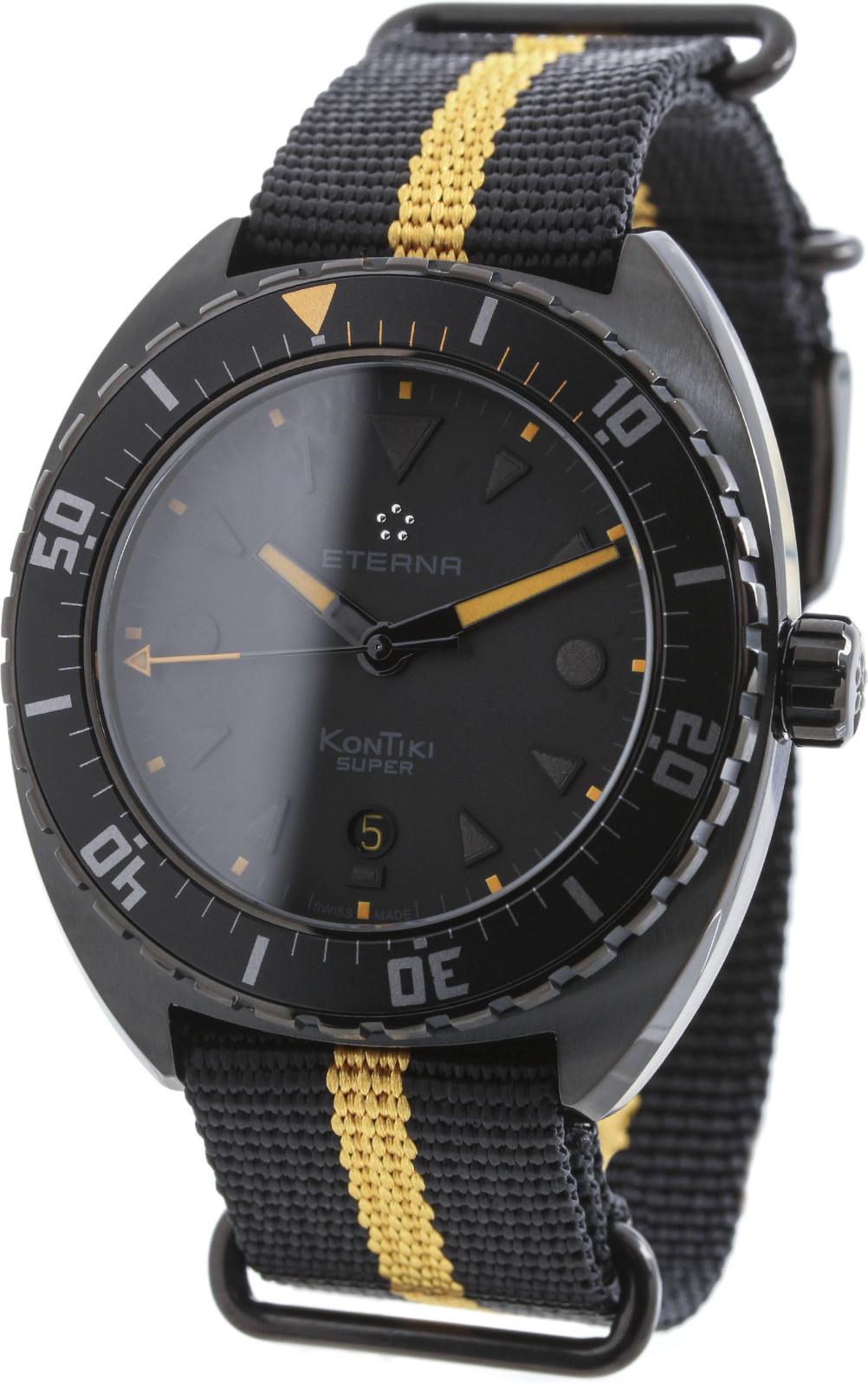 Eterna Super KonTiki 1273.43.41.1365Наручные часы<br>Швейцарские часы Eterna Super KonTiki 1273.43.41.1365<br><br>Для кого?: Мужские<br>Страна-производитель: Швейцария<br>Механизм: Кварцевый<br>Материал корпуса: Сталь<br>Материал ремня/браслета: Сталь<br>Водозащита, диапазон: None<br>Стекло: Сапфировое<br>Толщина корпуса: 12,6 мм<br>Стиль: None