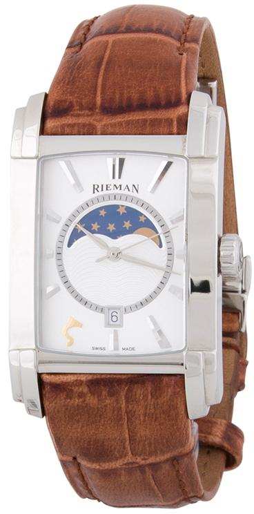 Rieman Integrale Gents R1340.324.222Наручные часы<br>Швейцарские часы Rieman Integrale Gents R1340.324.222Данная модель входит в коллекцию Integrale Gents. Это великолепные мужские часы. Материал корпуса часов &amp;mdash; сталь. Циферблат часов защищает сапфировое стекло. Водозащита этой модели 30 м. Основной цвет циферблата белый. Циферблат содержит часы, минуты, секунды. В этой модели используются такие усложнения как дата, фаза луны, . Размер данной модели 31.3х49мм.<br><br>Пол: Мужские<br>Страна-производитель: Швейцария<br>Механизм: Кварцевый<br>Материал корпуса: Сталь<br>Материал ремня/браслета: Кожа<br>Водозащита, диапазон: 20 - 100 м<br>Стекло: Сапфировое<br>Толщина корпуса: None<br>Стиль: Классика
