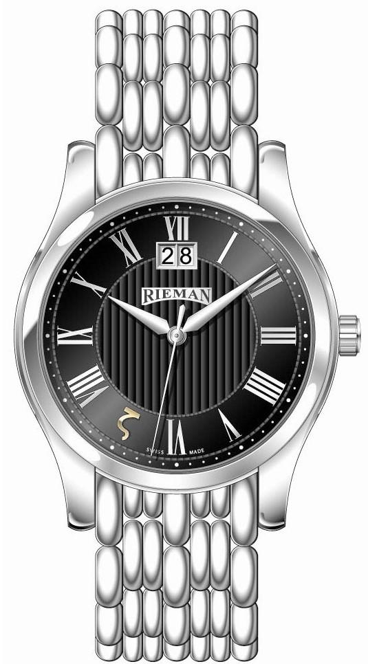 Rieman Sfero Gents R1140.131.012Наручные часы<br>Швейцарские часы Rieman Sfero Gents R1140.131.012Данная модель входит в коллекцию Sfero Gents. Это мужские часы. Материал корпуса часов &amp;mdash; сталь. Стекло - сапфировое. Водозащита этих часов 30 м. Цвет циферблата - черный. Циферблат часов содержит часы, минуты, секунды. В этой модели используются такие усложнения как дата, . Корпус часов в диаметре 40мм.<br><br>Пол: Мужские<br>Страна-производитель: Швейцария<br>Механизм: Кварцевый<br>Материал корпуса: Сталь<br>Материал ремня/браслета: Сталь<br>Водозащита, диапазон: 20 - 100 м<br>Стекло: Сапфировое<br>Толщина корпуса: None<br>Стиль: Классика