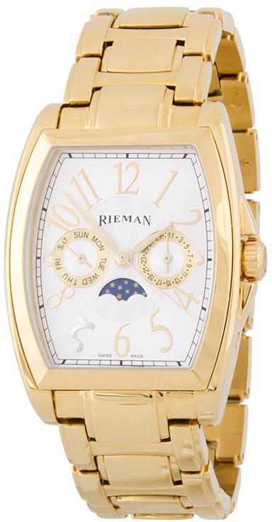 Rieman Bernhard R1621.322.035Наручные часы<br>Швейцарские часы Rieman Bernhard R1621.322.035Данная модель входит в коллекцию Bernhard. Это настоящие мужские часы. Материал корпуса часов — сталь+золото. Стекло - сапфировое. Часы этой модели обладают водозащитой 30 м. Основной цвет циферблата белый. Из основных функций на циферблате представлены: часы, минуты, секунды. В данной модели используются следующие усложнения: дата, день недели, фаза луны, сложный календарь, . Корпус часов в диаметре 36.5х50мм.<br><br>Пол: Мужские<br>Страна-производитель: Швейцария<br>Механизм: Кварцевый<br>Материал корпуса: Сталь+Золото<br>Материал ремня/браслета: Сталь+Золото<br>Водозащита, диапазон: 20 - 100 м<br>Стекло: Сапфировое<br>Толщина корпуса: None<br>Стиль: Классика