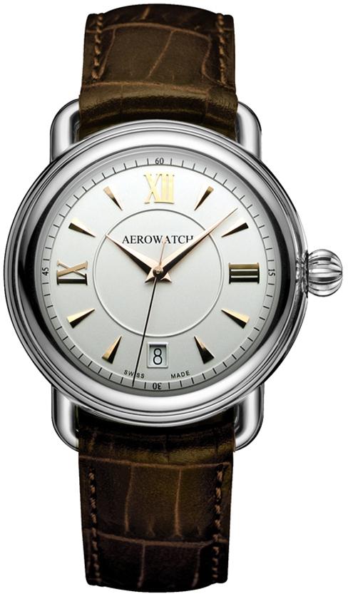 Aerowatch 1942 24924 AA02Наручные часы<br>Швейцарские часы Aerowatch 1942 24924 AA02<br><br>Пол: Мужские<br>Страна-производитель: Швейцария<br>Механизм: Кварцевый<br>Материал корпуса: Сталь<br>Материал ремня/браслета: Кожа<br>Водозащита, диапазон: 20 - 100 м<br>Стекло: Сапфировое<br>Толщина корпуса: None<br>Стиль: Классика