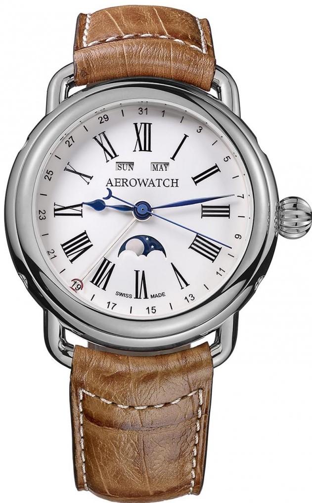 Aerowatch 1942 75970 AA01Наручные часы<br>Швейцарские часы Aerowatch 1942 75970 AA01<br><br>Пол: Мужские<br>Страна-производитель: Швейцария<br>Механизм: Механический<br>Материал корпуса: Сталь<br>Материал ремня/браслета: Кожа<br>Водозащита, диапазон: 20 - 100 м<br>Стекло: Сапфировое<br>Толщина корпуса: 13 мм<br>Стиль: Классика