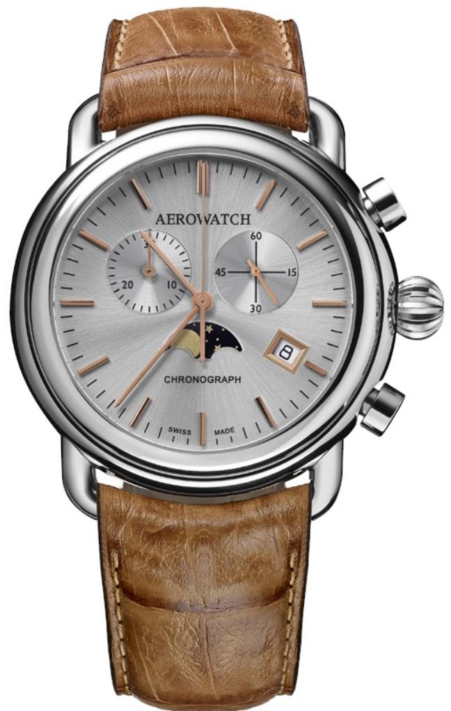 Aerowatch 1942 84934 AA06Наручные часы<br>Швейцарские часы Aerowatch 1942 84934 AA06<br><br>Пол: Мужские<br>Страна-производитель: Швейцария<br>Механизм: Кварцевый<br>Материал корпуса: Сталь<br>Материал ремня/браслета: Кожа<br>Водозащита, диапазон: None<br>Стекло: Сапфировое<br>Толщина корпуса: None<br>Стиль: None