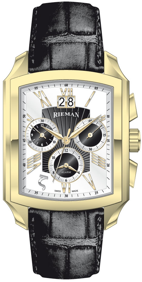 Rieman Chrono Integrale Alarm R2021.401.215Наручные часы<br>Швейцарские часы Rieman Chrono Integrale Alarm R2021.401.215Данная модель — яркий представитель коллекции Chrono Integrale Alarm. Это настоящие мужские часы. Материал корпуса часов — сталь+золото. В этой модели стоит сапфировое стекло. Водозащита этой модели 30 м. Основной цвет циферблата белый с черным. Циферблат часов содержит часы, минуты, секунды. В данной модели используются следующие усложнения: дата, будильник, . Размер данной модели 35х49.5мм.<br><br>Пол: Мужские<br>Страна-производитель: Швейцария<br>Механизм: Кварцевый<br>Материал корпуса: Сталь+Золото<br>Материал ремня/браслета: Кожа<br>Водозащита, диапазон: 20 - 100 м<br>Стекло: Сапфировое<br>Толщина корпуса: None<br>Стиль: Классика