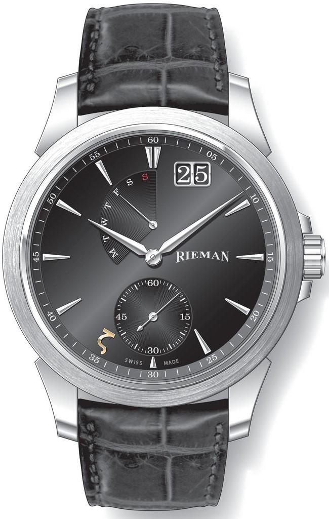 Rieman Academic R2140.334.212Наручные часы<br>Швейцарские часы Rieman Academic R2140.334.212Часы принадежат коллекции Academic. Это мужские часы. Материал корпуса часов &amp;mdash; сталь. В этой модели стоит сапфировое стекло. Водозащита этой модели 30 м. Основной цвет циферблата черный. Циферблат часов содержит часы, минуты, секунды. В этой модели используются такие усложнения как дата, день недели, . Диаметр корпуса данной модели 42мм.<br><br>Пол: Мужские<br>Страна-производитель: Швейцария<br>Механизм: Кварцевый<br>Материал корпуса: Сталь<br>Материал ремня/браслета: Кожа<br>Водозащита, диапазон: 20 - 100 м<br>Стекло: Сапфировое<br>Толщина корпуса: None<br>Стиль: Классика