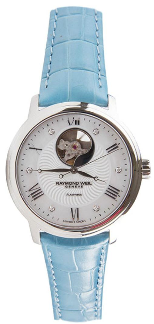 Raymond Weil Maestro 2227-STC-00966-AZURНаручные часы<br>Швейцарские часы Raymond Weil Maestro 2227-STC-00966-AZUR<br><br>Пол: Женские<br>Страна-производитель: Швейцария<br>Механизм: Механический<br>Материал корпуса: Сталь<br>Материал ремня/браслета: Кожа<br>Водозащита, диапазон: None<br>Стекло: Сапфировое<br>Толщина корпуса: None<br>Стиль: None