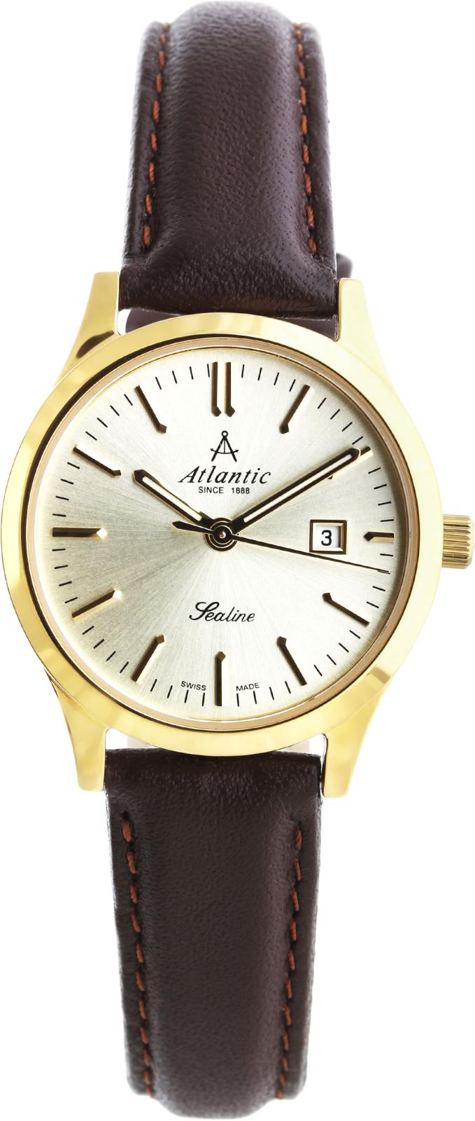 Atlantic Sealine 22341.45.31Наручные часы<br>Швейцарские часы Atlantic Sealine 22341.45.31<br><br>Пол: Женские<br>Страна-производитель: Швейцария<br>Механизм: Кварцевый<br>Материал корпуса: Сталь<br>Материал ремня/браслета: Кожа<br>Водозащита, диапазон: None<br>Стекло: Сапфировое<br>Толщина корпуса: None<br>Стиль: None