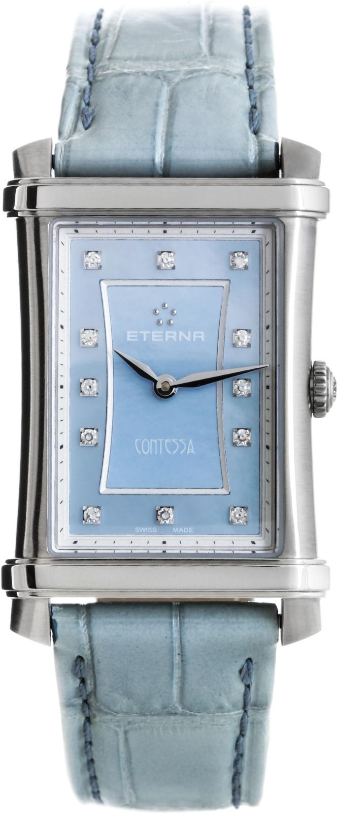 Eterna Contessa Two-Hands 2410.41.87.1222Наручные часы<br>Швейцарские часы Eterna Contessa Two-Hands 2410.41.87.1222Часы принадежат коллекции Contessa Two-Hands. Это великолепные женские часы. Материал корпуса часов — сталь. В этих часах используется сапфировое стекло. Водозащита этих часов 50 м. Основной цвет циферблата голубой. Размер данной модели 25х33мм. При создании этих часов использованы натуральные бриллианты.<br><br>Пол: Женские<br>Страна-производитель: Швейцария<br>Механизм: Кварцевый<br>Материал корпуса: Сталь<br>Материал ремня/браслета: Кожа<br>Водозащита, диапазон: 20 - 100 м<br>Стекло: Сапфировое<br>Толщина корпуса: None<br>Стиль: Классика