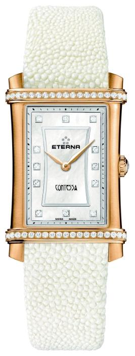 Eterna Contessa 2410.77.67.1206Наручные часы<br>Швейцарские часы Eterna Contessa 2410.77.67.1206Часы принадежат коллекции Contessa. Это великолепные женские часы. Материал корпуса часов &amp;mdash; золото 18к. В этих часах используется сапфировое стекло. Водозащита этих часов 50 м. Основной цвет циферблата белый. Циферблат часов содержит часы. В этих часах используются такие усложнения как . Корпус часов в диаметре 25х40мм. При создании этих часов использованы натуральные бриллианты.<br><br>Пол: Женские<br>Страна-производитель: Швейцария<br>Механизм: Кварцевый<br>Материал корпуса: Золото 18К<br>Материал ремня/браслета: Кожа<br>Водозащита, диапазон: 20 - 100 м<br>Стекло: Сапфировое<br>Толщина корпуса: 7 мм<br>Стиль: Классика