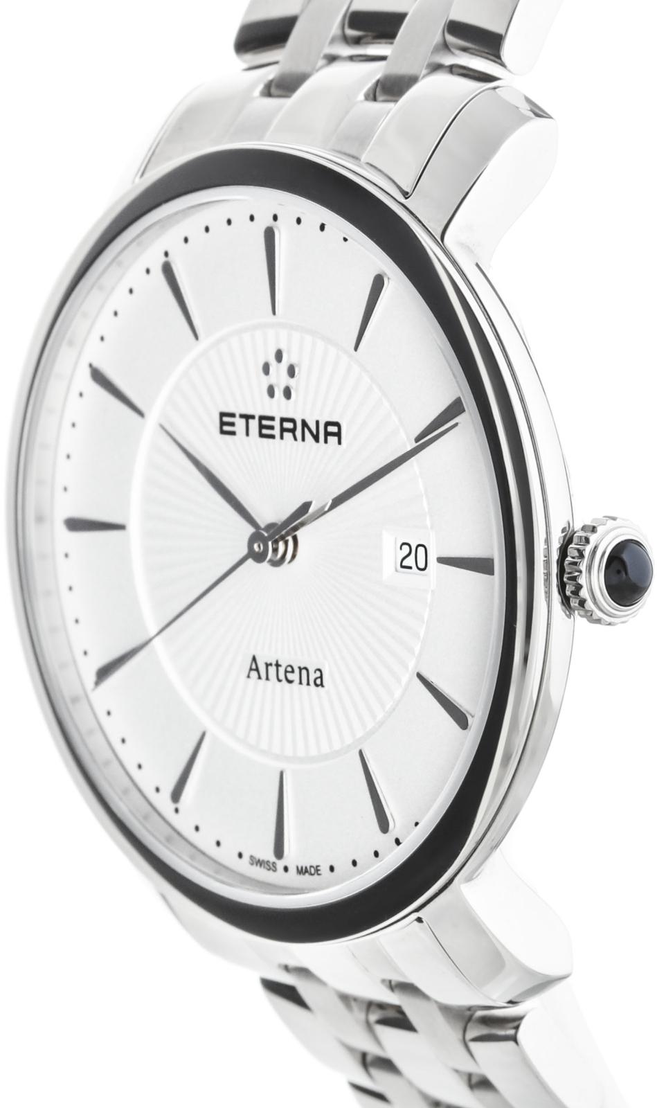 Eterna Artena 2510.41.11.0273Наручные часы<br>Швейцарские часы Eterna Artena 2510.41.11.0273Данная модель входит в коллекцию Artena. Это модные женские часы. Материал корпуса часов &amp;mdash; сталь. Циферблат часов защищает сапфировое стекло. Часы этой модели обладают водозащитой 30 м.<br><br>Пол: Женские<br>Страна-производитель: Швейцария<br>Механизм: Кварцевый<br>Материал корпуса: Сталь<br>Материал ремня/браслета: Сталь<br>Водозащита, диапазон: 20 - 100 м<br>Стекло: Сапфировое<br>Толщина корпуса: None<br>Стиль: None