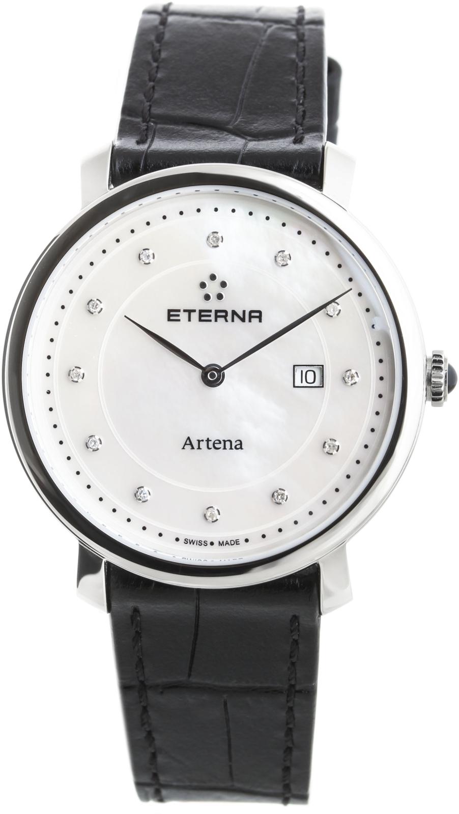 Eterna Artena 2510.41.66.1251Наручные часы<br>Швейцарские часы Eterna Artena 2510.41.66.1251Представленная модель входит в коллекцию Artena. Это настоящие женские часы. Материал корпуса часов — сталь. Стекло - сапфировое. Водозащита этой модели 30 м.<br><br>Пол: Женские<br>Страна-производитель: Швейцария<br>Механизм: Кварцевый<br>Материал корпуса: Сталь<br>Материал ремня/браслета: Кожа<br>Водозащита, диапазон: 20 - 100 м<br>Стекло: Сапфировое<br>Толщина корпуса: None<br>Стиль: None