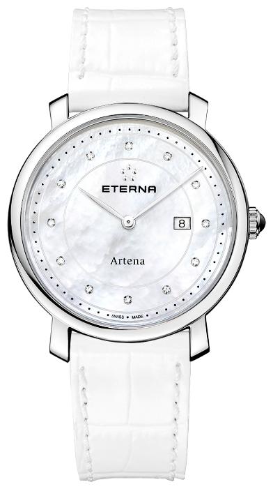 Eterna Artena 2510.41.66.1252Наручные часы<br>Швейцарские часы Eterna Artena 2510.41.66.1252Часы входят в модельный ряд коллекции Artena. Это модные женские часы. Материал корпуса часов &amp;mdash; сталь. Циферблат часов защищает сапфировое стекло. Водозащита - 30 м.<br><br>Пол: Женские<br>Страна-производитель: Швейцария<br>Механизм: Кварцевый<br>Материал корпуса: Сталь<br>Материал ремня/браслета: Кожа<br>Водозащита, диапазон: 20 - 100 м<br>Стекло: Сапфировое<br>Толщина корпуса: None<br>Стиль: None