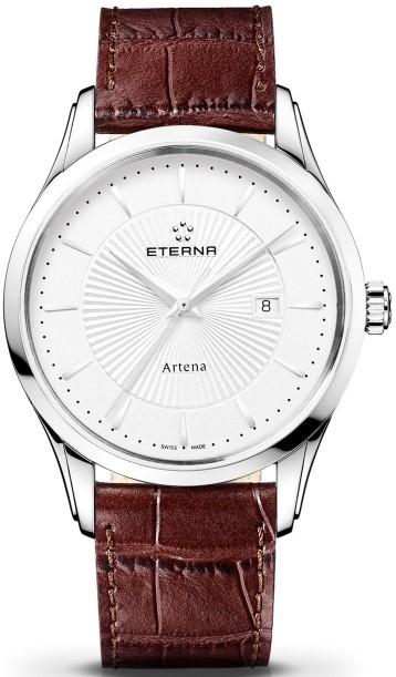 Eterna Artena 2520.41.11.1259Наручные часы<br>Швейцарские часы Eterna Artena 2520.41.11.1259Часы принадежат коллекции Artena. Это великолепные мужские часы. Материал корпуса часов &amp;mdash; сталь. Стекло - сапфировое. Водозащита этой модели 30 м. Диаметр корпуса 40мм.<br><br>Пол: Мужские<br>Страна-производитель: Швейцария<br>Механизм: Кварцевый<br>Материал корпуса: Сталь<br>Материал ремня/браслета: Кожа<br>Водозащита, диапазон: 20 - 100 м<br>Стекло: Сапфировое<br>Толщина корпуса: None<br>Стиль: None