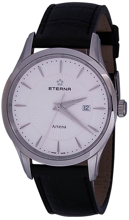 Eterna Artena 2520.41.11.1258Наручные часы<br>Швейцарские часы Eterna Artena 2520.41.11.1258Часы принадежат коллекции Artena. Это настоящие мужские часы. Материал корпуса часов — сталь. В этих часах используется сапфировое стекло. Водозащита - 30 м.<br><br>Пол: Мужские<br>Страна-производитель: Швейцария<br>Механизм: Кварцевый<br>Материал корпуса: Сталь<br>Материал ремня/браслета: Кожа<br>Водозащита, диапазон: 20 - 100 м<br>Стекло: Сапфировое<br>Толщина корпуса: None<br>Стиль: None
