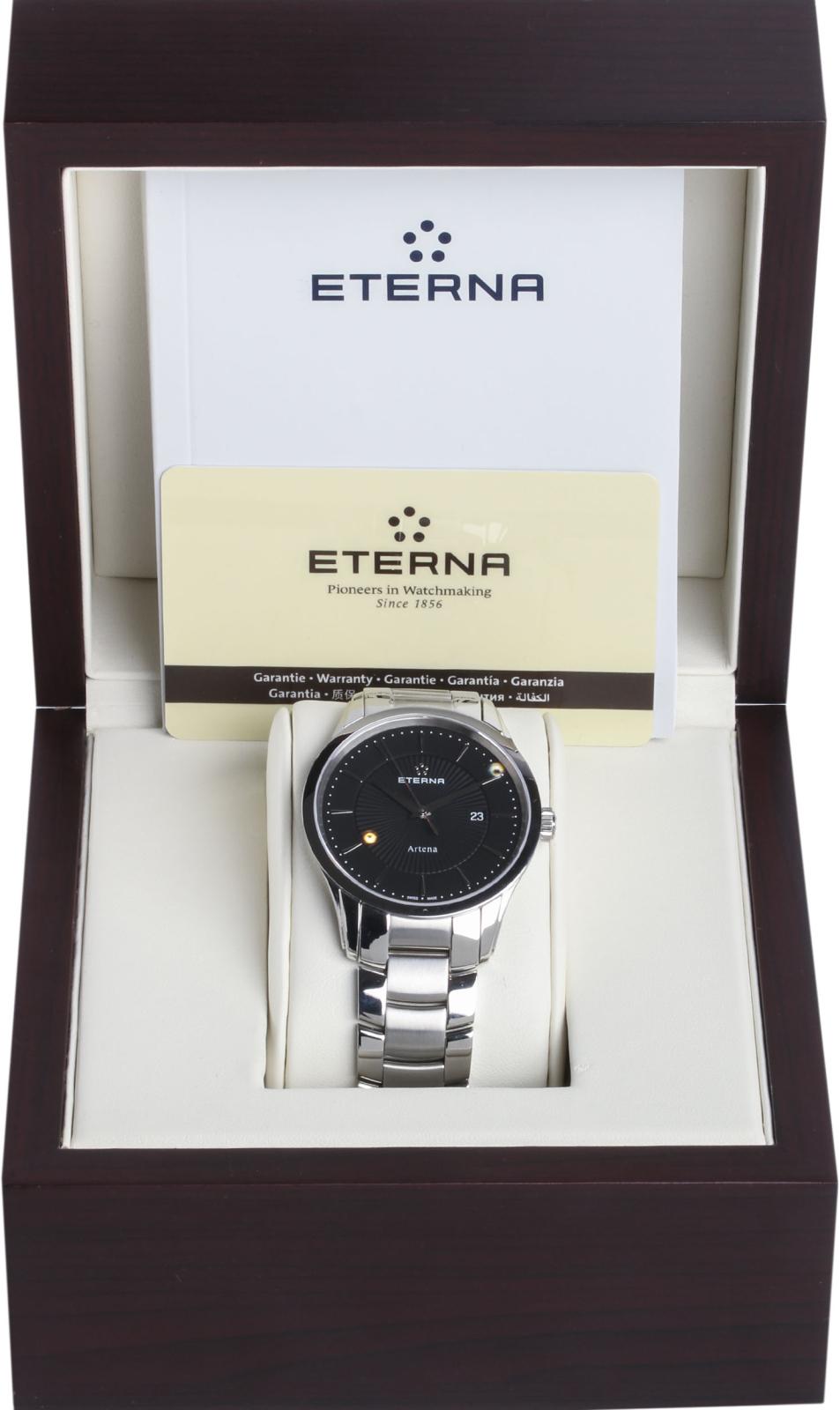 Eterna Artena 2520.41.41.0274Наручные часы<br>Швейцарские часы Eterna Artena 2520.41.41.0274Данная модель входит в коллекцию Artena. Это стильные мужские часы. Материал корпуса часов &amp;mdash; сталь. В этих часах используется сапфировое стекло. Водозащита этих часов 30 м.<br><br>Пол: Мужские<br>Страна-производитель: Швейцария<br>Механизм: Кварцевый<br>Материал корпуса: Сталь<br>Материал ремня/браслета: Сталь<br>Водозащита, диапазон: 20 - 100 м<br>Стекло: Сапфировое<br>Толщина корпуса: None<br>Стиль: None