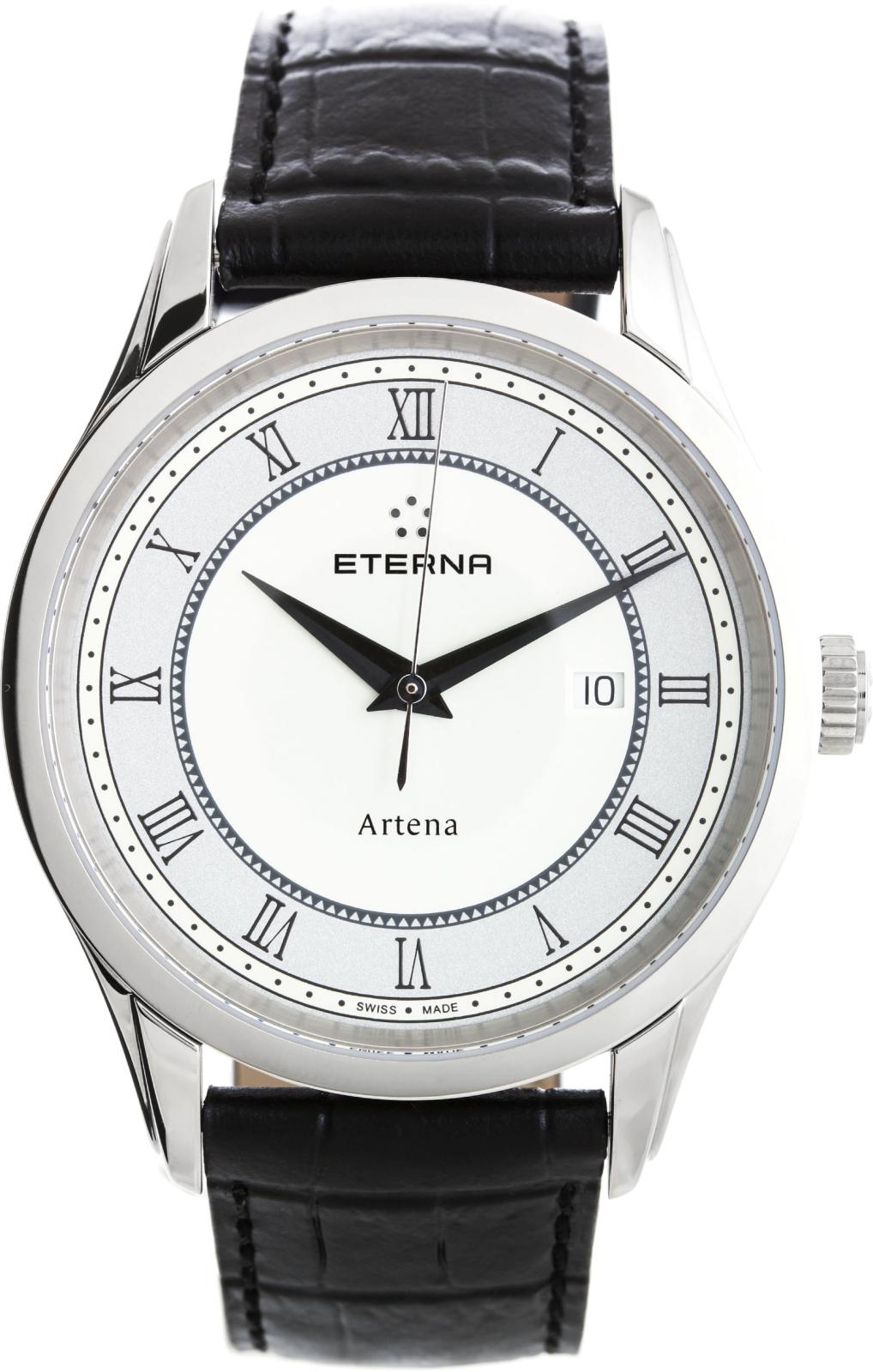Eterna Artena 2520.41.55.1258Наручные часы<br>Швейцарские часы Eterna Artena 2520.41.55.1258Данная модель входит в коллекцию Artena. Это настоящие мужские часы. Материал корпуса часов — сталь. Стекло - сапфировое. Часы выдерживают давление на глубине 30 м.<br><br>Пол: Мужские<br>Страна-производитель: Швейцария<br>Механизм: Кварцевый<br>Материал корпуса: Сталь<br>Материал ремня/браслета: Кожа<br>Водозащита, диапазон: 20 - 100 м<br>Стекло: Сапфировое<br>Толщина корпуса: None<br>Стиль: None