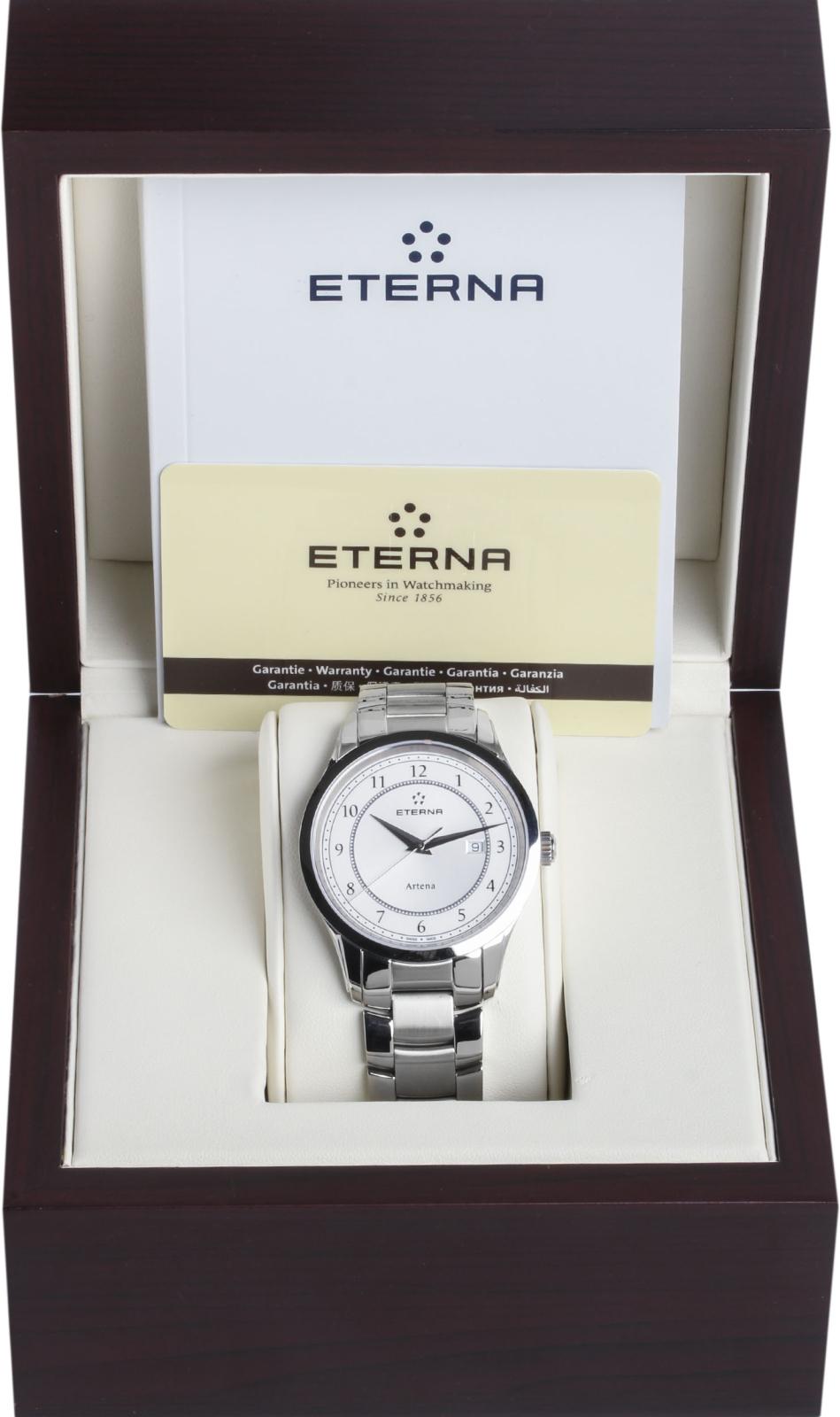 Eterna Artena 2520.41.64.0274Наручные часы<br>Швейцарские часы Eterna Artena 2520.41.64.0274Модель входит в коллекцию Artena. Это стильные женские часы. Материал корпуса часов — сталь. В этой модели стоит сапфировое стекло. Часы этой модели обладают водозащитой 30 м. Размер данной модели 40мм.<br><br>Пол: Женские<br>Страна-производитель: Швейцария<br>Механизм: Кварцевый<br>Материал корпуса: Сталь<br>Материал ремня/браслета: Сталь<br>Водозащита, диапазон: 20 - 100 м<br>Стекло: Сапфировое<br>Толщина корпуса: None<br>Стиль: None