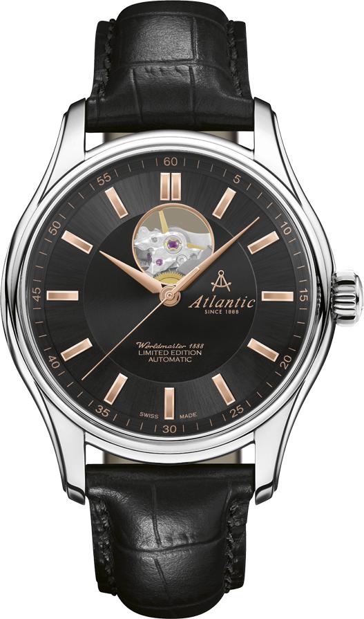 Atlantic Worldmaster 52757.41.61RНаручные часы<br>Швейцарские часы Atlantic Worldmaster 52757.41.61R<br><br>Пол: Мужские<br>Страна-производитель: Швейцария<br>Механизм: Механический<br>Материал корпуса: Сталь<br>Материал ремня/браслета: Кожа<br>Водозащита, диапазон: None<br>Стекло: Сапфировое<br>Толщина корпуса: None<br>Стиль: None