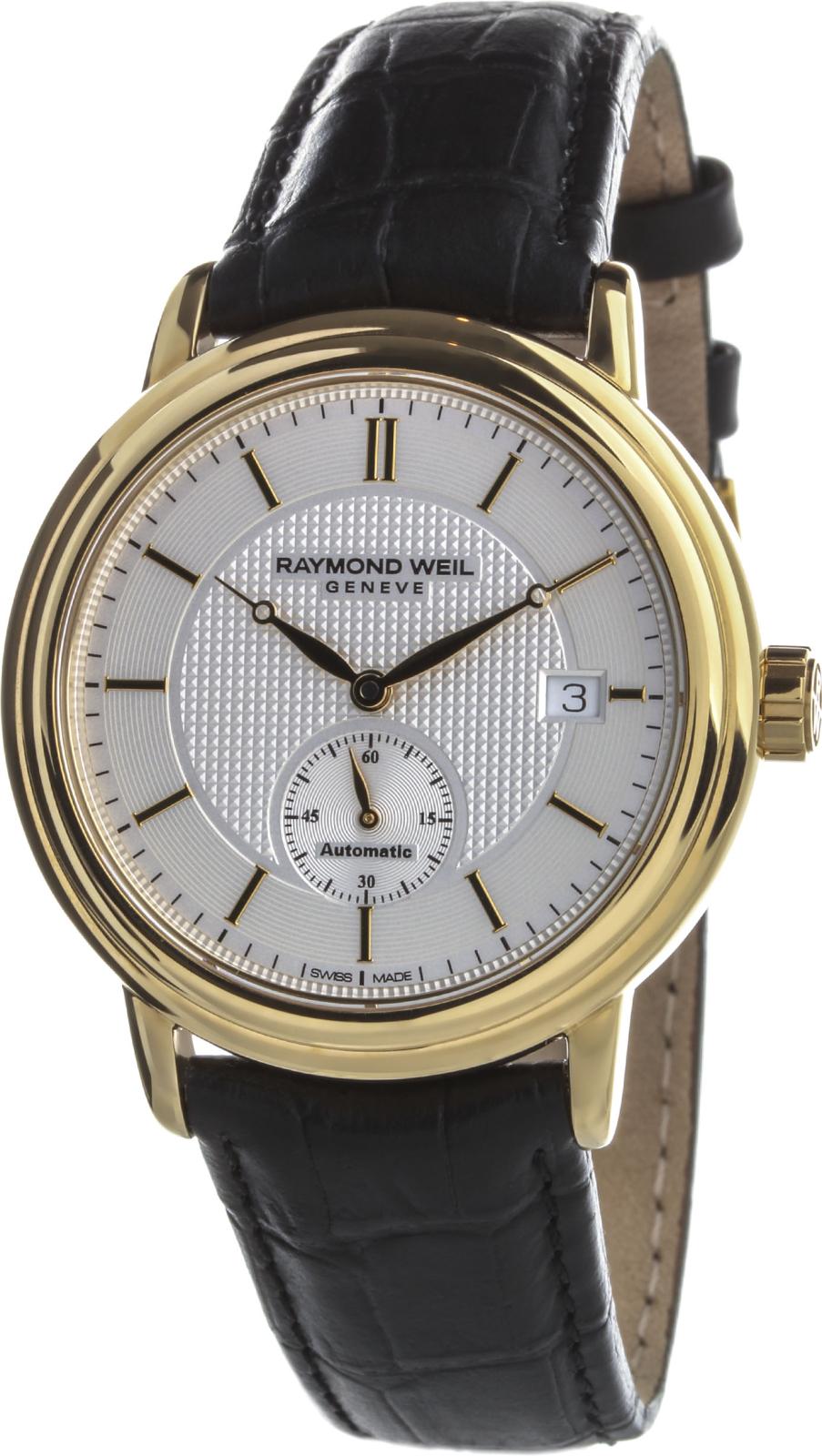 Raymond Weil Maestro 2838-PC-65001Наручные часы<br>Швейцарские часы Raymond Weil Maestro 2838-PC-65001<br><br>Для кого?: Мужские<br>Страна-производитель: Швейцария<br>Механизм: Механический<br>Материал корпуса: Сталь<br>Материал ремня/браслета: Кожа<br>Водозащита, диапазон: 20 - 100 м<br>Стекло: Сапфировое<br>Толщина корпуса: 10 мм<br>Стиль: Классика