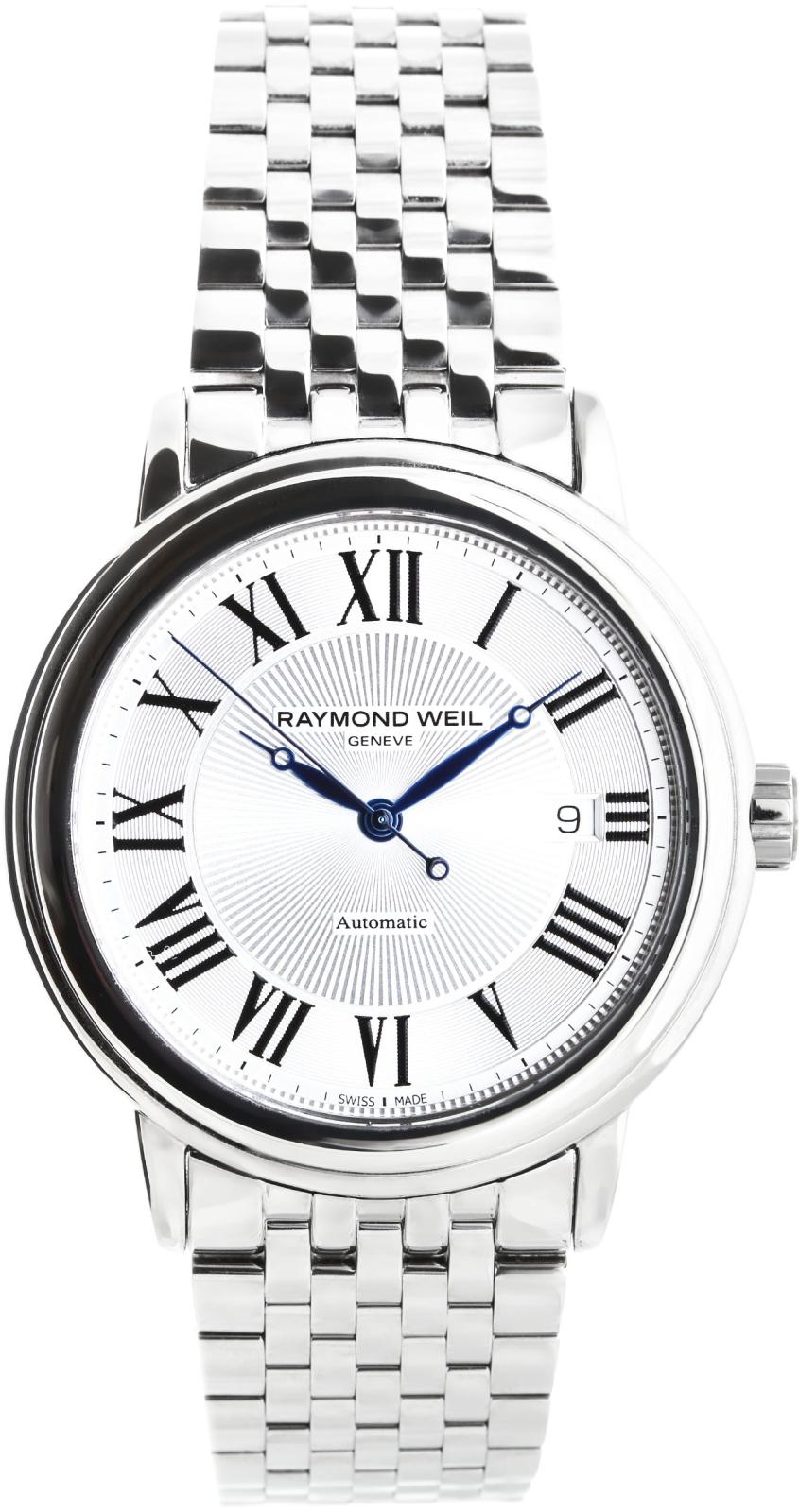 Raymond Weil Maestro 2847-ST-00659Наручные часы<br>Швейцарские часы Raymond Weil Maestro 2847-ST-00659Модель входит в коллекцию Maestro. Это великолепные мужские часы. Материал корпуса часов — сталь. Стекло - сапфировое. Водозащита этой модели 50 м.<br><br>Пол: Мужские<br>Страна-производитель: Швейцария<br>Механизм: Механический<br>Материал корпуса: Сталь<br>Материал ремня/браслета: Сталь<br>Водозащита, диапазон: 20 - 100 м<br>Стекло: Сапфировое<br>Толщина корпуса: None<br>Стиль: None