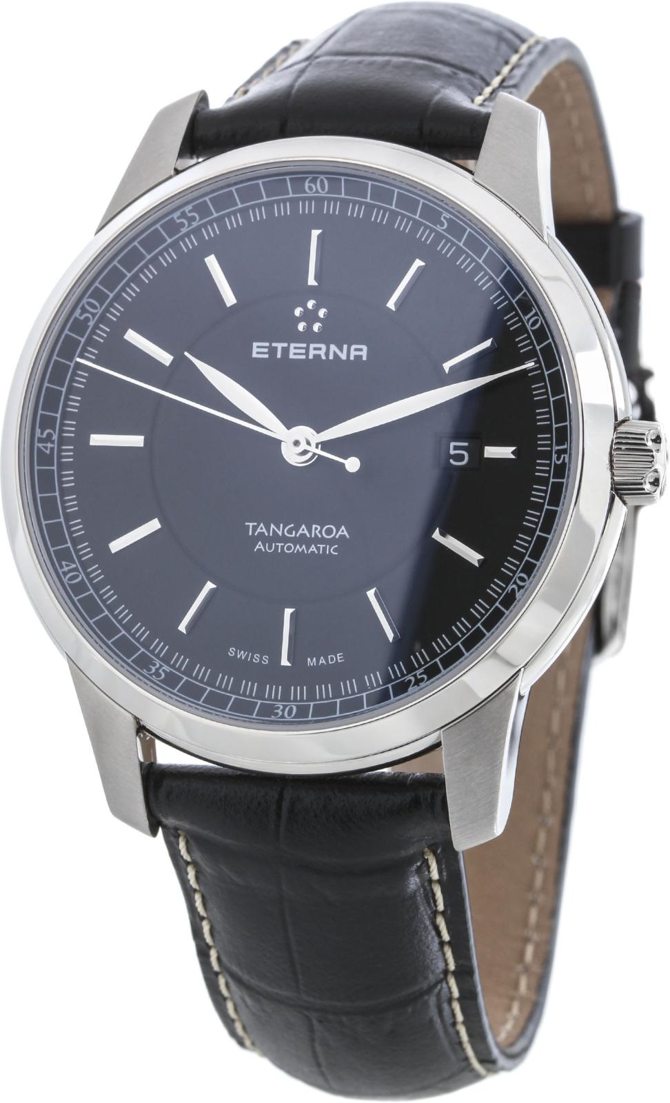 Eterna Tangaroa 2948.41.41.1261Наручные часы<br>Швейцарские часы Eterna Tangaroa 2948.41.41.1261Данная модель входит в коллекцию Tangaroa. Это настоящие мужские часы. Материал корпуса часов — сталь. В этой модели стоит сапфировое стекло. Часы этой модели обладают водозащитой 50 м.<br><br>Пол: Мужские<br>Страна-производитель: Швейцария<br>Механизм: Механический<br>Материал корпуса: Сталь<br>Материал ремня/браслета: Кожа<br>Водозащита, диапазон: 20 - 100 м<br>Стекло: Сапфировое<br>Толщина корпуса: None<br>Стиль: None