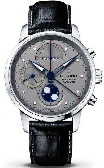 Eterna Tangaroa 2949.41.16.1261Наручные часы<br>Швейцарские часы Eterna Tangaroa 2949.41.16.1261Часы входят в модельный ряд коллекции Tangaroa. Это великолепные мужские часы. Материал корпуса часов &amp;mdash; сталь. Циферблат часов защищает сапфировое стекло. Водозащита этой модели 50 м.<br><br>Пол: Мужские<br>Страна-производитель: Швейцария<br>Механизм: Механический<br>Материал корпуса: Сталь<br>Материал ремня/браслета: Кожа<br>Водозащита, диапазон: 20 - 100 м<br>Стекло: Сапфировое<br>Толщина корпуса: None<br>Стиль: None