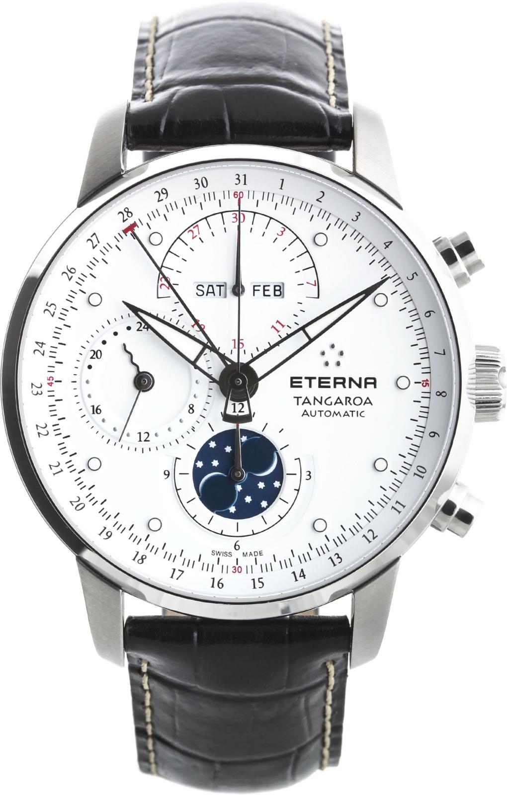 Eterna Tangaroa 2949.41.66.1261Наручные часы<br>Швейцарские часы Eterna Tangaroa 2949.41.66.1261Данная модель — яркий представитель коллекции Tangaroa. Это настоящие мужские часы. Материал корпуса часов — сталь. В этих часах используется сапфировое стекло. Водозащита этих часов 50 м.<br><br>Пол: Мужские<br>Страна-производитель: Швейцария<br>Механизм: Механический<br>Материал корпуса: Сталь<br>Материал ремня/браслета: Кожа<br>Водозащита, диапазон: 20 - 100 м<br>Стекло: Сапфировое<br>Толщина корпуса: None<br>Стиль: None