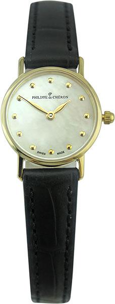 Philippe de Cheron Elisa 3006.1213NНаручные часы<br>Швейцарские часы Philippe de Cheron Elisa 3006.1213N<br><br>Пол: Женские<br>Страна-производитель: Швейцария<br>Механизм: Кварцевый<br>Материал корпуса: Золото<br>Материал ремня/браслета: Кожа<br>Водозащита, диапазон: None<br>Стекло: Сапфировое<br>Толщина корпуса: None<br>Стиль: None