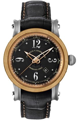 Cuervo y Sobrinos Torpedo 3053.5NAНаручные часы<br>Швейцарские часы Cuervo y Sobrinos Torpedo 3053.5NAЧасы принадежат коллекции Torpedo. Это настоящие мужские часы. Материал корпуса часов — титан. Стекло - сапфировое. Часы этой модели обладают водозащитой 50 м. Размер данной модели 45х12,4мм.<br><br>Пол: Мужские<br>Страна-производитель: Швейцария<br>Механизм: Механический<br>Материал корпуса: Титан<br>Материал ремня/браслета: Кожа<br>Водозащита, диапазон: 20 - 100 м<br>Стекло: Сапфировое<br>Толщина корпуса: None<br>Стиль: None