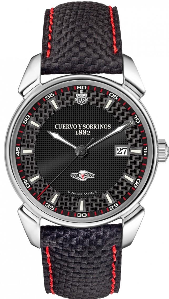 Cuervo y Sobrinos 3195.1RC13Наручные часы<br>Швейцарские часы Cuervo y SobrinosHistoriador Racing3195.1RC13Представленная модель входит в коллекциюHistoriador. Это мужские часы. Материал корпуса — нержавеющая сталь. Ремень — текстиль. В этой модели стоит сапфировое стекло. Водозащита - 30 м. Цвет циферблата - серый карбон. Механизм -CYS 5102 (ETA 2824-2/ SW 200-1) - механический с системой автоматического подзавода, 28 800 полуколебвний/час, 21 / 26 камней, запас хода - 38 часов. Диаметр корпуса модели - 40 мм.<br><br>Пол: Мужские<br>Страна-производитель: Швейцария<br>Механизм: Механический<br>Материал корпуса: Сталь<br>Материал ремня/браслета: Текстиль<br>Водозащита, диапазон: 20 - 100 м<br>Стекло: Сапфировое<br>Толщина корпуса: 10,4 мм<br>Стиль: Спорт