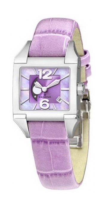 Candino D-Light C4360/4Наручные часы<br>Швейцарские часы Candino D-Light C4360/4Модель входит в коллекцию D-Light. Это великолепные женские часы. Материал корпуса часов &amp;mdash; сталь. Циферблат часов защищает минеральное стекло. Водозащита - 50 м. Основной цвет циферблата фиолетовый.<br><br>Пол: Женские<br>Страна-производитель: Швейцария<br>Механизм: Кварцевый<br>Материал корпуса: Сталь<br>Материал ремня/браслета: Кожа<br>Водозащита, диапазон: 20 - 100 м<br>Стекло: Минеральное<br>Толщина корпуса: None<br>Стиль: Мода