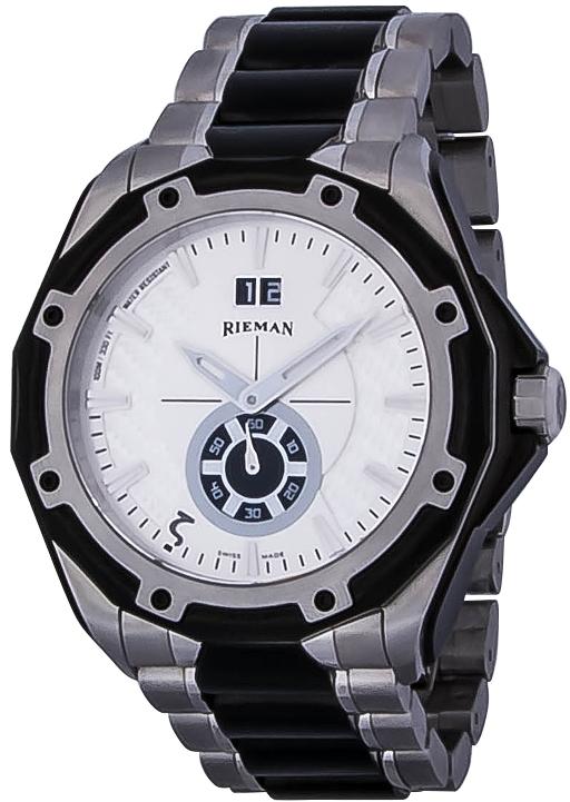 Rieman OutSpace R4145.194.092Наручные часы<br>Швейцарские часы Rieman OutSpace R4145.194.092Представленная модель входит в коллекцию OutSpace. Это стильные мужские часы. Материал корпуса часов &amp;mdash; сталь. Стекло - сапфировое. Водозащита этих часов 100 м. Основной цвет циферблата белый. Циферблат модели содержит часы, минуты, секунды. В этой модели используются такие усложнения как дата, . Размер данной модели 45,5мм.<br><br>Пол: Мужские<br>Страна-производитель: Швейцария<br>Механизм: Кварцевый<br>Материал корпуса: Сталь<br>Материал ремня/браслета: Сталь<br>Водозащита, диапазон: 100 - 150 м<br>Стекло: Сапфировое<br>Толщина корпуса: None<br>Стиль: Спорт