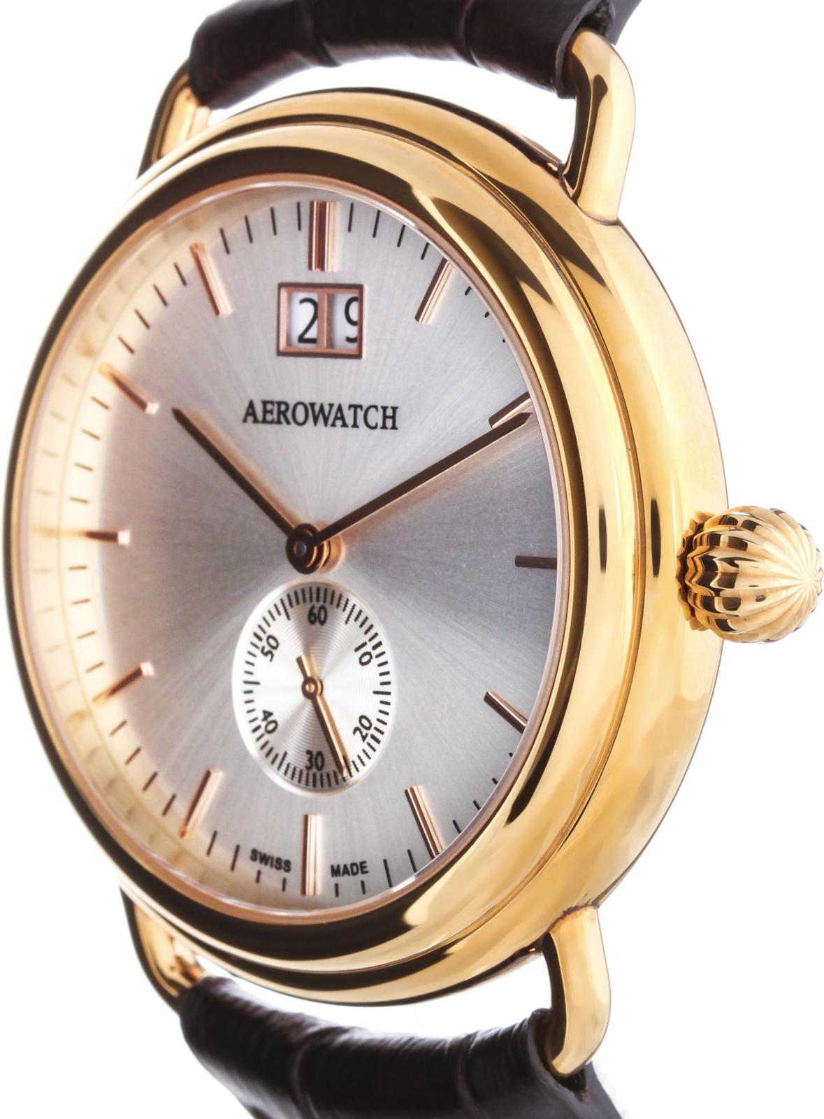 Aerowatch 1942 41900 RO03Наручные часы<br>Швейцарские часы Aerowatch 1942 41900 RO03<br><br>Пол: Мужские<br>Страна-производитель: Швейцария<br>Механизм: Кварцевый<br>Материал корпуса: Сталь<br>Материал ремня/браслета: Кожа<br>Водозащита, диапазон: None<br>Стекло: Сапфировое<br>Толщина корпуса: None<br>Стиль: None