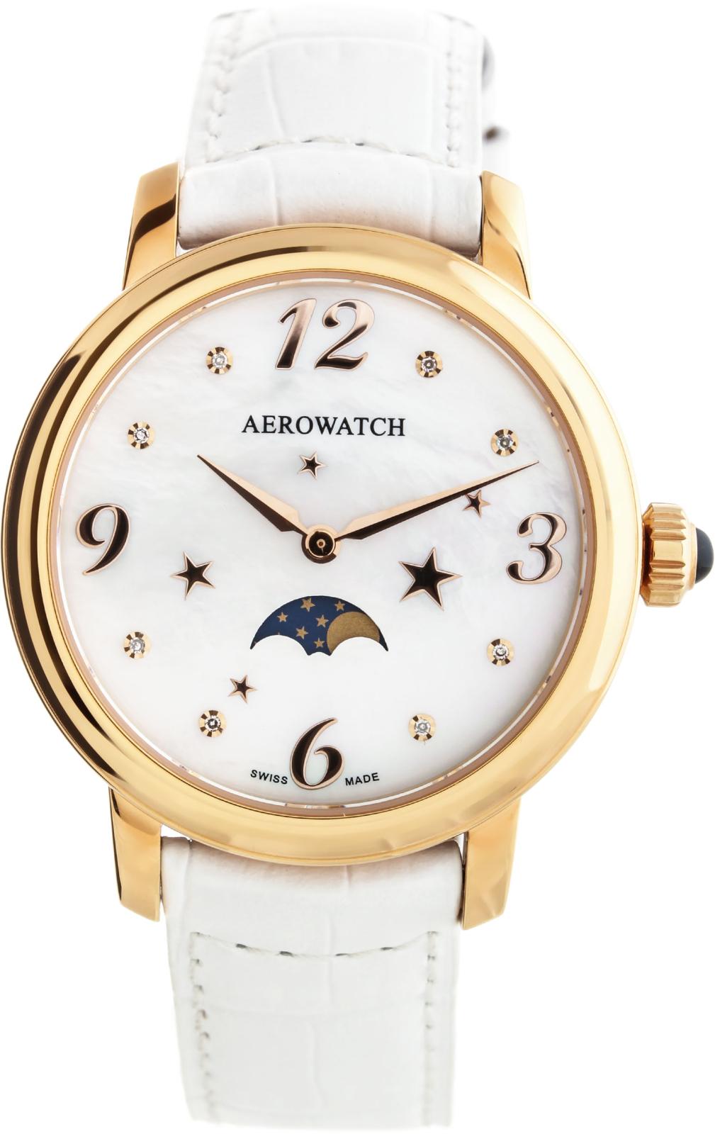 Aerowatch Renaissance 43938 RO09Наручные часы<br>Швейцарские часы Aerowatch Renaissance 43938 RO09<br><br>Пол: Женские<br>Страна-производитель: Швейцария<br>Механизм: Кварцевый<br>Материал корпуса: Сталь<br>Материал ремня/браслета: Кожа<br>Водозащита, диапазон: 20 - 100 м<br>Стекло: Сапфировое<br>Толщина корпуса: 7 мм<br>Стиль: Классика